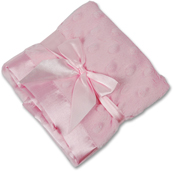 Personalized Baby Pink Minky Dot and Satin Security Blanket