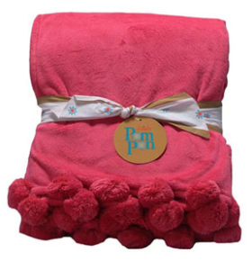 Personalized Hot Pink Pom Pon Plush Throw