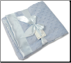 Personalized Blue Minky Dot/Blue Satin Minky Receiving Blanket