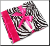 Personalized Zebra Minky/Hot Pink Satin Receiving Blanket