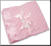 Personalized Pink Minky Dot/Pink Satin Receiving Blanket